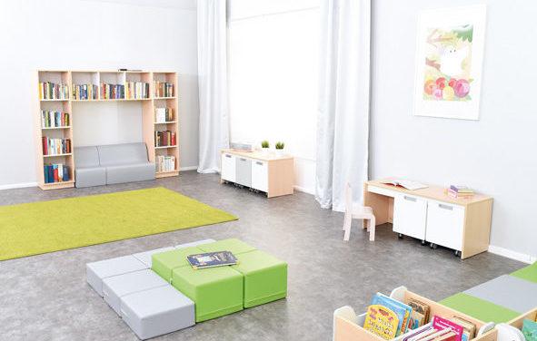 Biblioteka dla maluchów wyposażona w meble z kolekcji Quadro