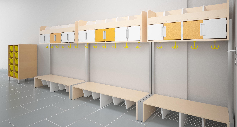 Szatnia szkolna wyposażona w meble z kolekcji Quadro