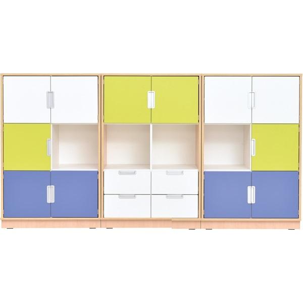 Meble biblioteczne Quadro w kolorze limonkowo - niebiesko - białym