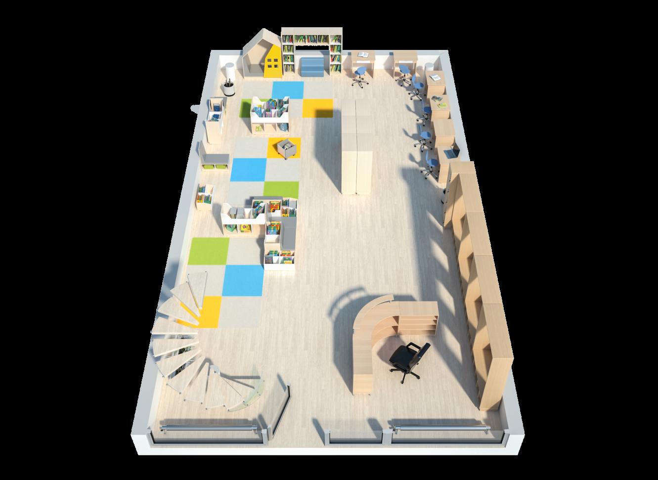 Widok z góry na bibliotekę szkolna wyposażona w meble Quadro