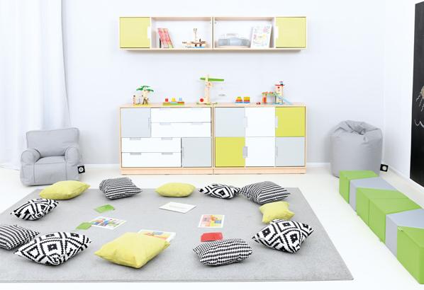 Kolorowe dodatki do przesrzeni dziecięcej pasujące do mebli z kolekcji Quadro