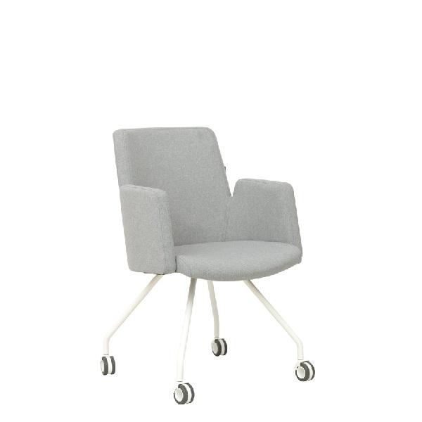 Szare krzesło biurowe na kółkach o nowoczesnym designie
