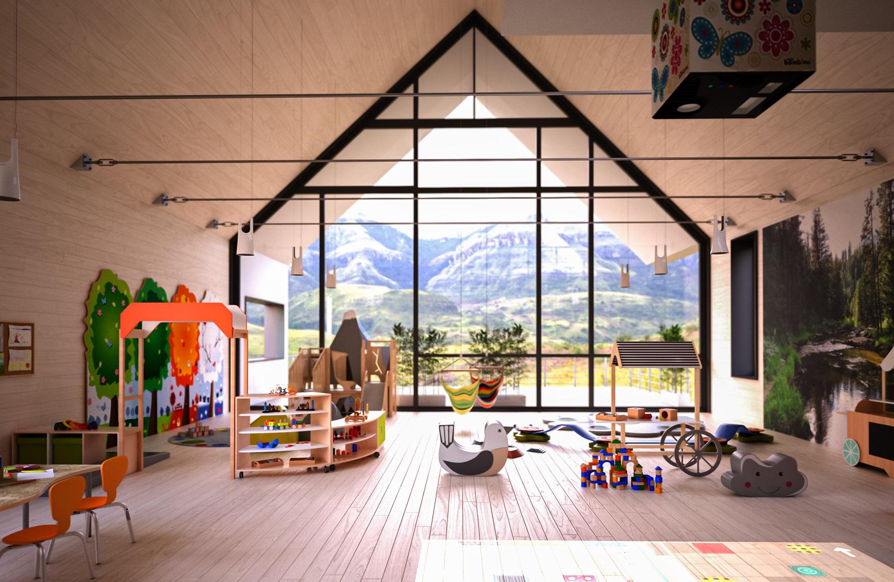 Sala dla dzieci z kącikiem górskim oraz meblami z kolekcji Quadro