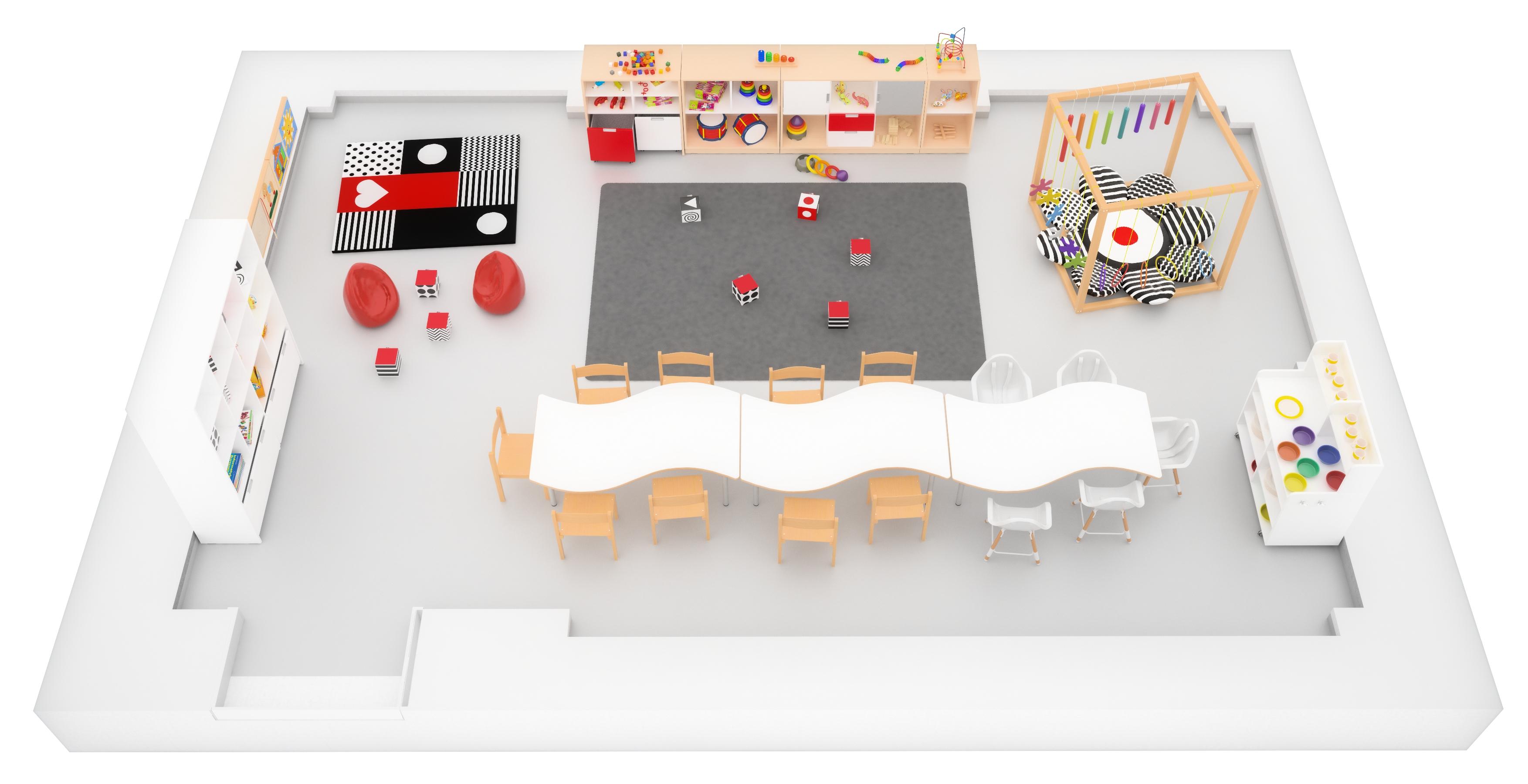 Widok z góry na aranżację sali żłobkowej wyposażonej w meble z kolekcji Quadro