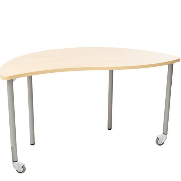 Półokrągły stół Mila falisty wyposażony w mobilne kółka