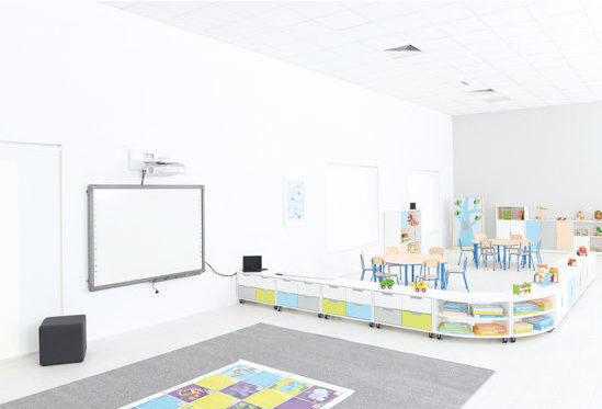 Aranżacja nowoczesnego przedszkola z mobilnymi meblami z kolekcji Quadro