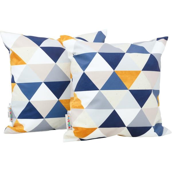 Poduszki dekoracyjne o motywie trójkątów w kolorze niebiecko-żółtym