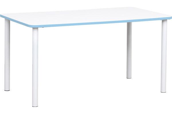 Prostokątny stół Quadro z niebieskim obrzeżem