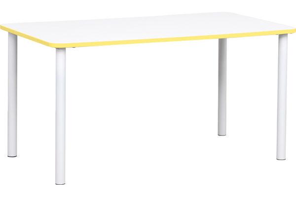 Prostokątny stół Quadro z żółtym obrzeżem