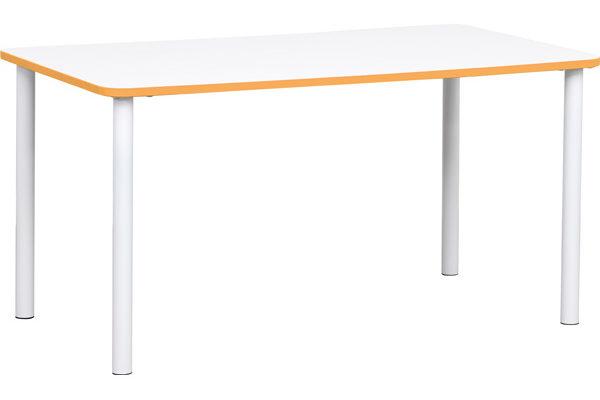 Prostokątny stół Quadro z pomaranczowym obrzeżem