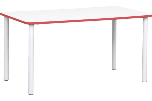 Prostokątny stół Quadro z czerwonym obrzeżem