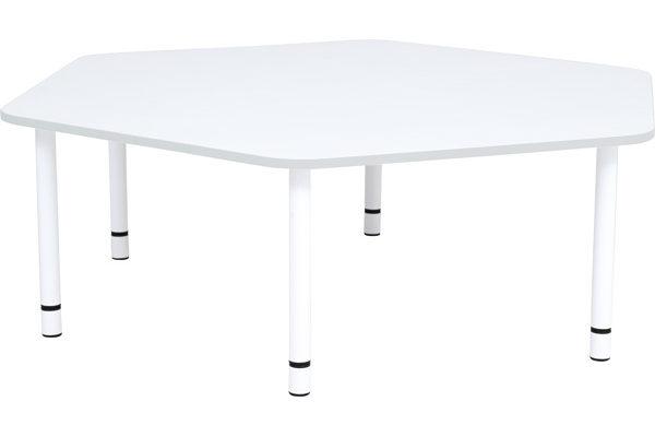 Stół Quadro w kształcie pięciokąta. Szare obrzeże