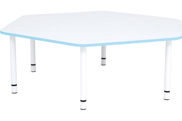 Pięciokątny stół Quadro z nie bieskim obrzeżem