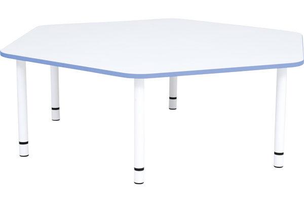 Stół pięciokątny z niebieskim obrzeżem Quadro