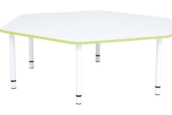 Pięciokątny stół Quadro o zielonym obrzeżu