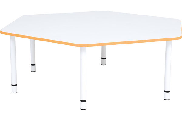 Pięciokątny stół Quadro o pomarańczowym obrzeżu