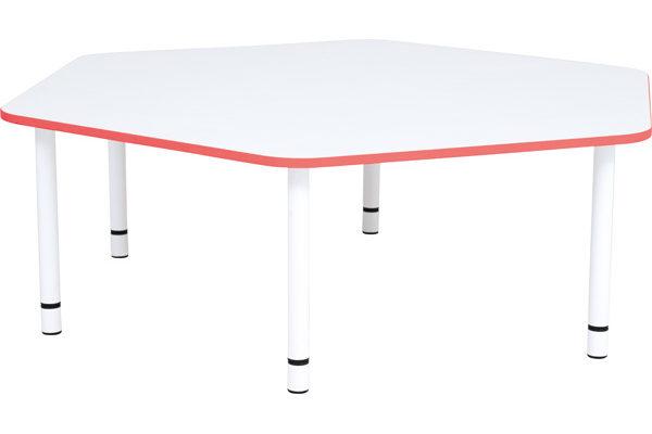 Pięciokątny stół Quadro. Czerwone obrzeże