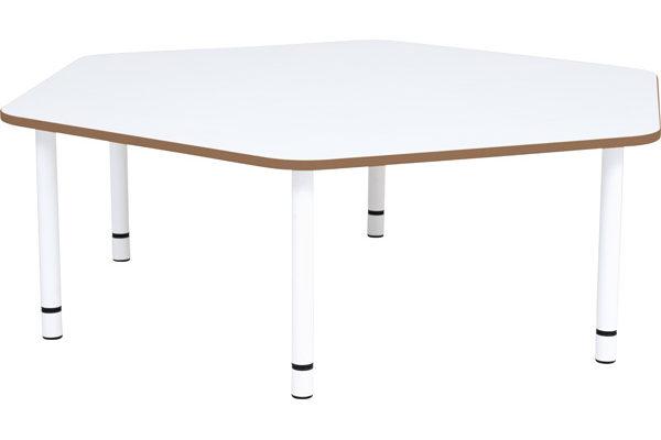 Pięciokątny stół quadro, brązowe obrzeże