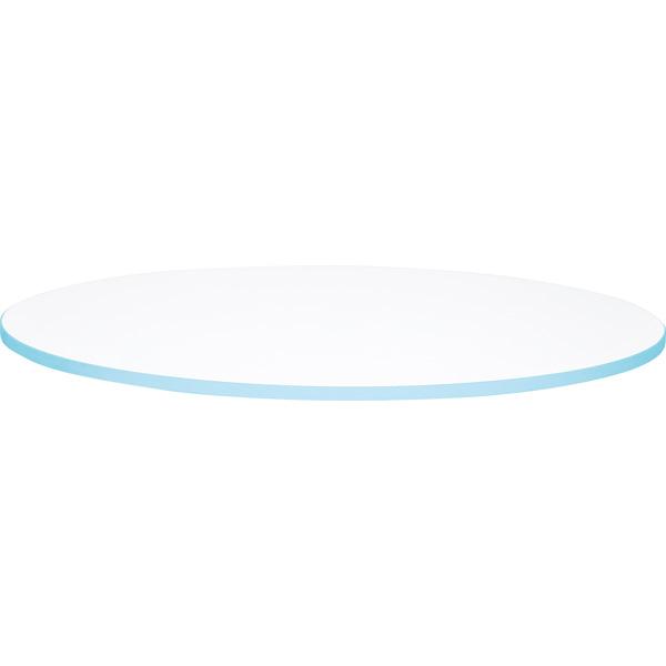 Biały blat do okrągłego stołu quadro z niebieskim obrzeżem