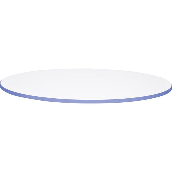 Okrągły blat z niebieskim obrzeżem do stołów Quadro