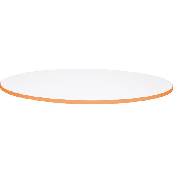 Okrągły blat do stołów Quadro z pomarańczowym obrzeżem