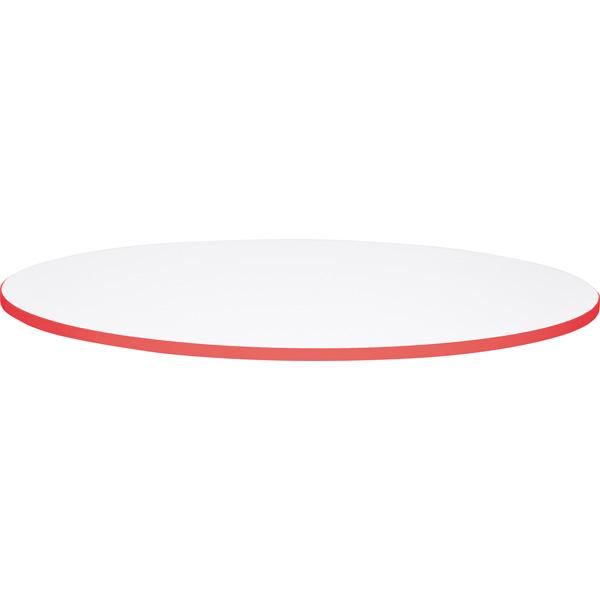 Okrągły biały blat Quadro z czerwonym obrzeżem