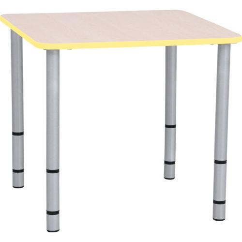 Kwadratowy stół Quadro z żółtymi obrzeżami
