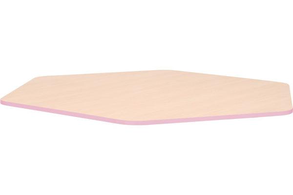 Pięciokątny blat Quadro z różowym obrzeżem