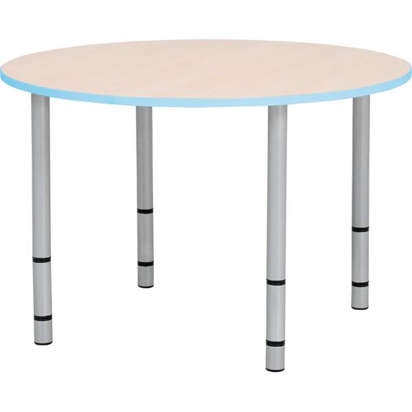 Stół Quadro w kształcie okrągłym z błękitnym obrzeżem