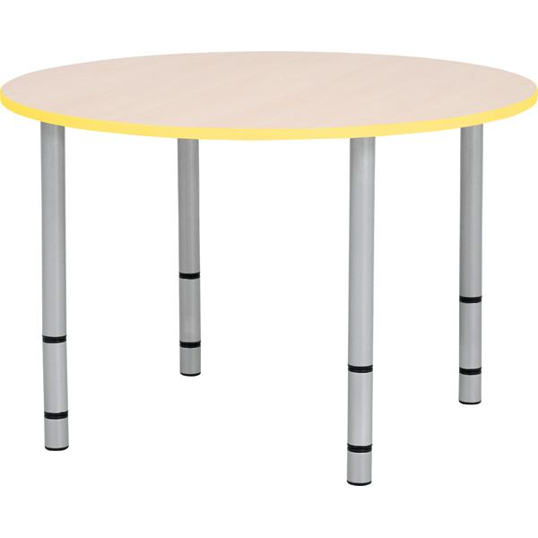 Okrągły stół Quadro z żółtym obrzeżem