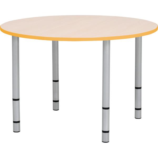 Okrągły stół Quadro z pomarańczowym obrzeżem