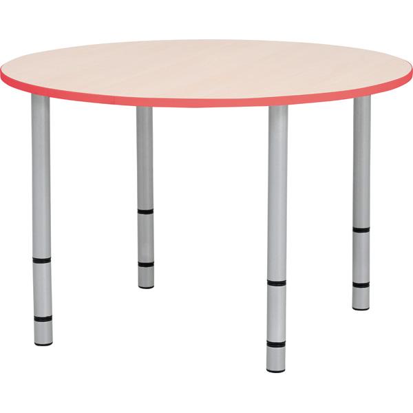Okrągły stół Quadro z czerwonym obrzeżem